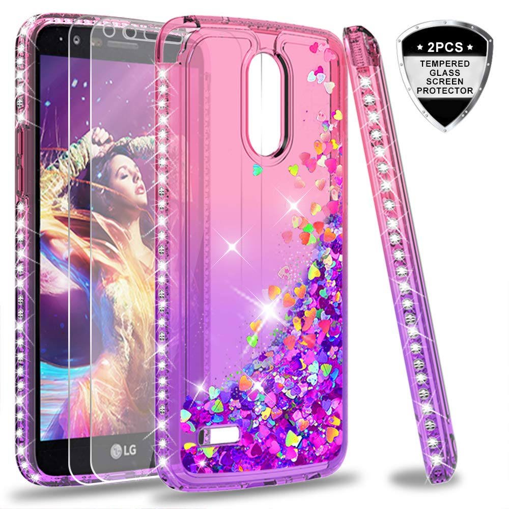 LeYi LG Stylo 3 / Stylo 3 Plus/Stylus 3 Case with Tempered Glass Screen Protector [2 Pack], Cute Design Moving Shiny Quicksand Glitter Girls Women Clear TPU Protective Case for LG LS777 ZX Rose Gold 4326466280