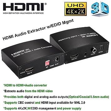 sumicline 4 K * 2 K extractor|hdmi de audio HDMI a HDMI y óptica