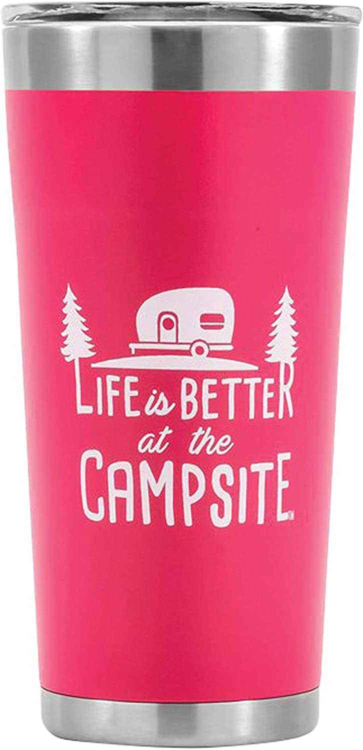 Camco Life is Better at The Campsite Stainless Steel 20 oz. Tumbler with Double Wall Insulation - Leak Proof Lid, Won't Sweat, Great For Hot and Cold Drinks - Coral Pink (53061)