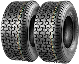 Set of 2 16x6.50-8 16/6.50-8 6-6.50-8 16x650x8 Turf Tires 4Ply Tubeless Replacement for John Deere Lawn Tractor Turf Saver, DOT Compliant
