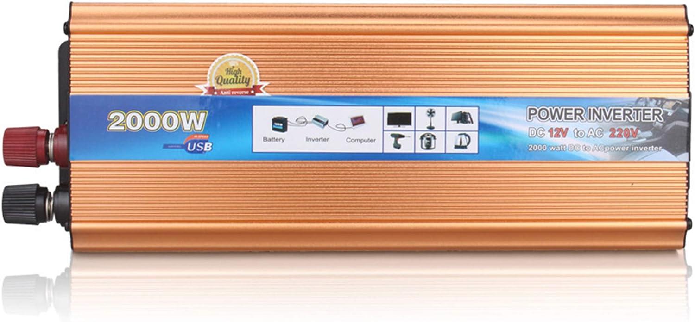 WOCTP Conversor de energía Solar 950W / 2000W Inversores de automóviles Pico DC 12V / 24V a CA 220V Transformador de Onda sinusoidal modificada con AC 220V con enchufes de 24V-220V/2000W