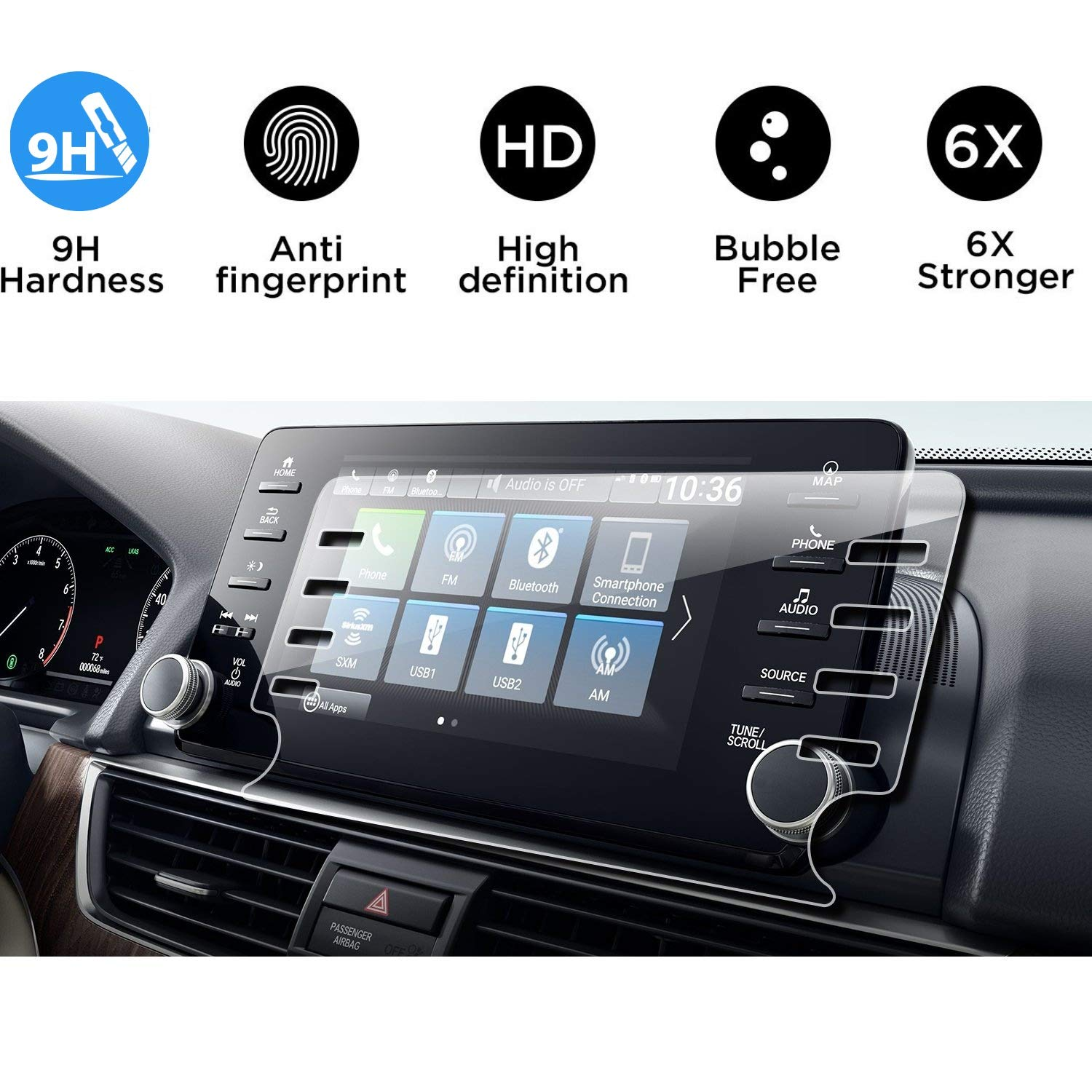 2018 2019 2020 Honda Accord EX EX-L Touring Screen Protector,Tempered Glass Screen Protector for Honda Accord,Flyingchan,9H Hardness,High Definition,Honda 8'' Car Center Touch Screen Protector