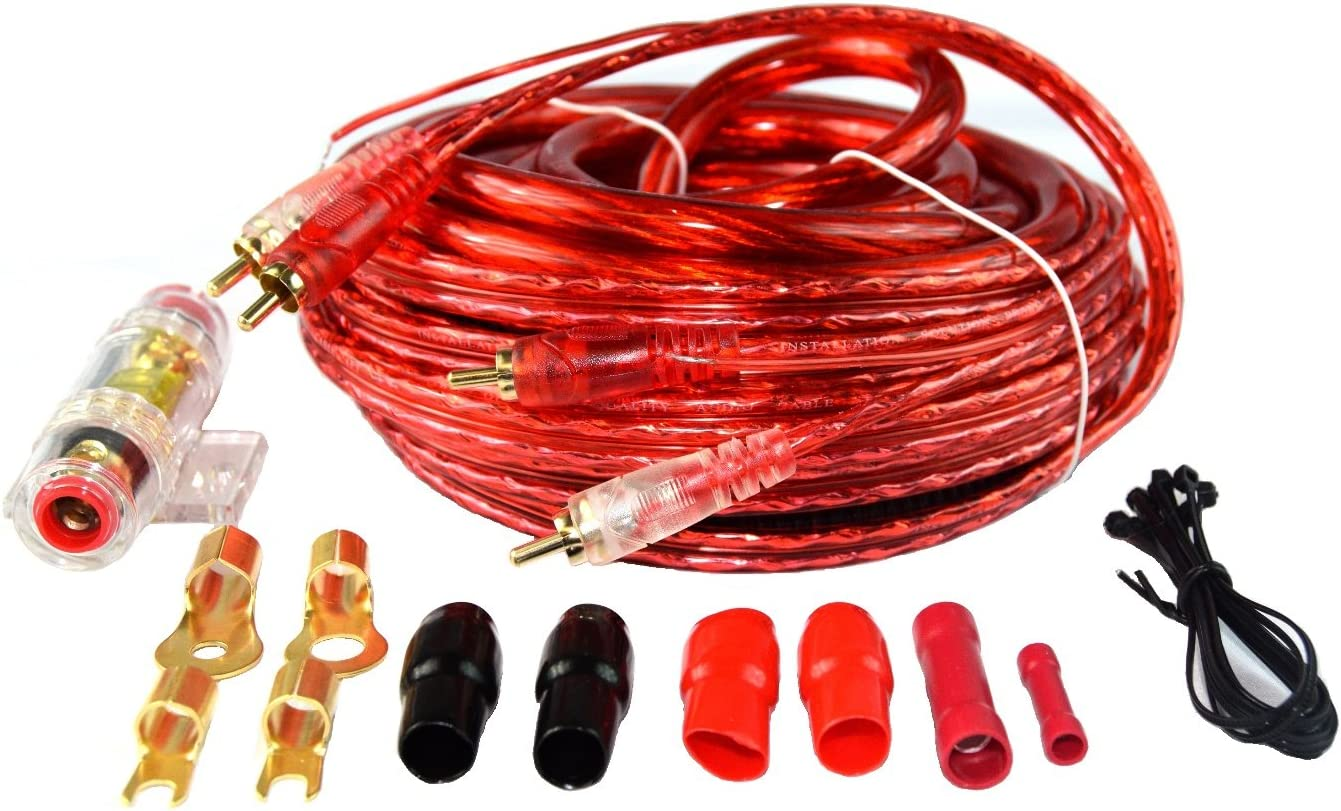 B01N383CSC 4 Gauge Amp Kit Amplifier Install Wiring Complete 4Ga Wire Red Performance AMP 716ht9ev6LL