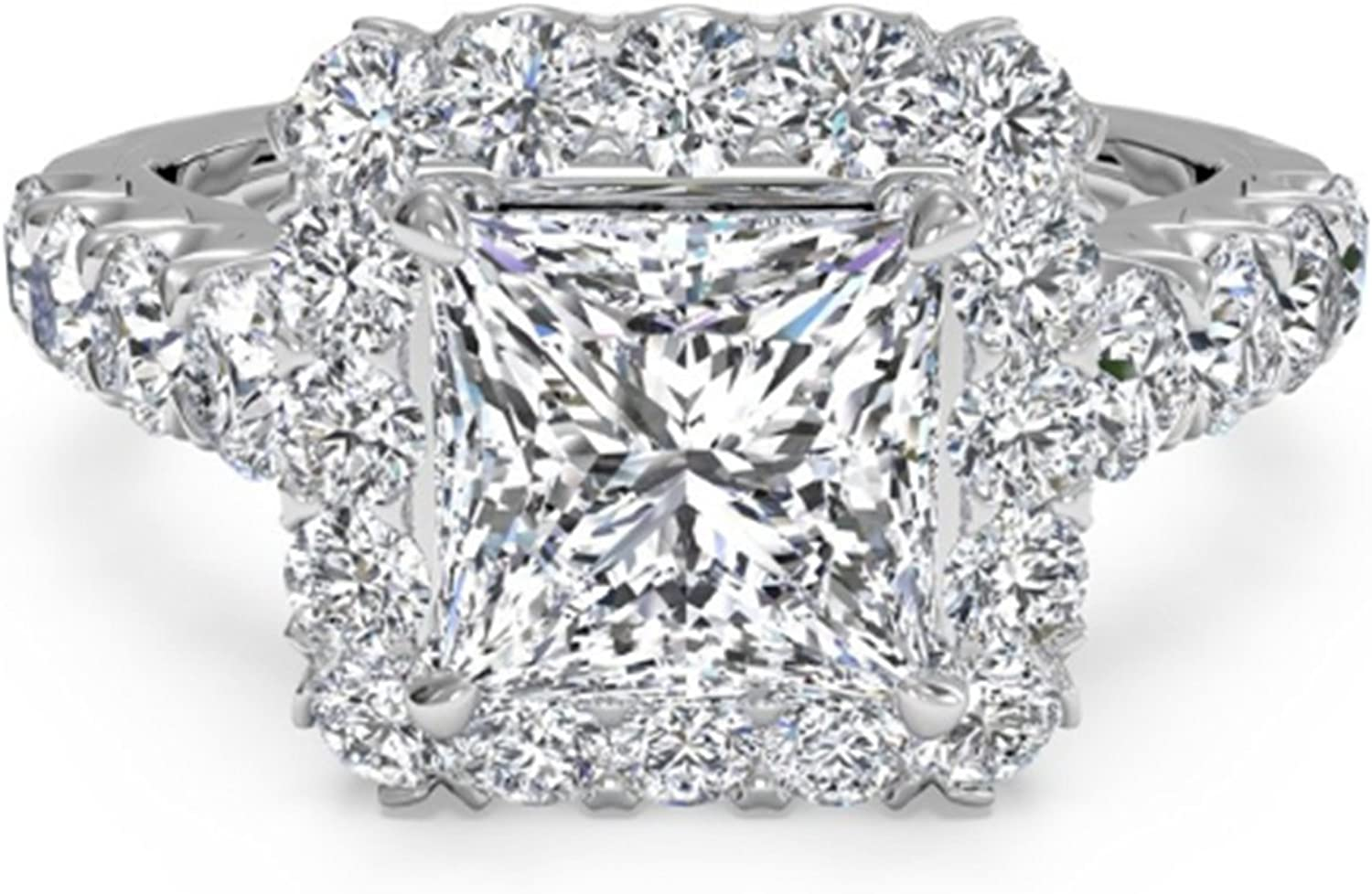 3.50 Ct Princess Solitaire Engagement Wedding Promise Ring Solid 14K White Gold
