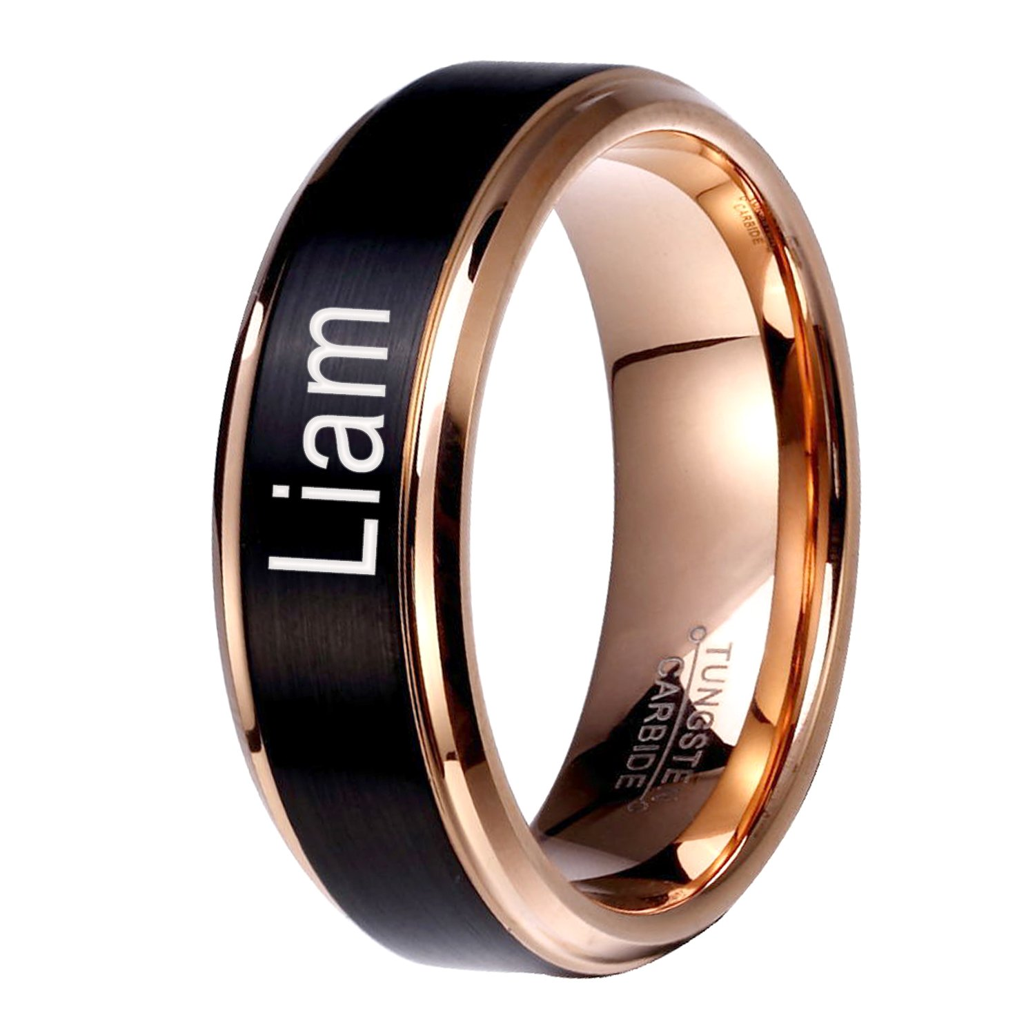 UlanMoron Anniversary Rings, Laser Engraved with Name, Men's 8mm Classic Tungsten Carbide Rings by UlanMoron