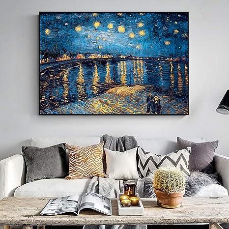 Geiqianjiumai Famoso Impresionista Noche Estrellada Lienzo Grabador Pintor Pintura de Paisaje Réplica de Pared Sala de Estar Cuadro Pintura sin Marco 20x30cm: Amazon.es: Hogar