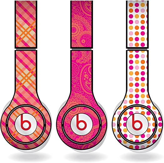 VictoryStore Orange Pink Different Pattern Set of 3 Headphone Skins for Beats Solo HD Headphones – Removable Vinyl Decal