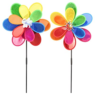 SimpleLif Windmill Sequins Colorful DIY Insect Wind Spinner Whirligig Home Yard Garden Decor Kids Toy(1 Piece): Home & Kitchen