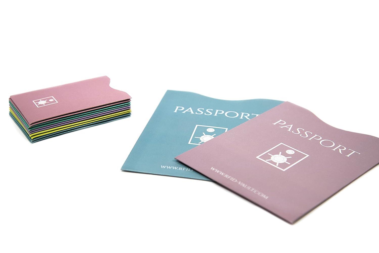 + RFID VAULT - 12 Stück RFID Schutzhüllenset + eleganter und wirkungsvoller Schutz für Ihre Kreditkarten, Bankkarten, EC Karten, Ausweise, Gesundheitskarten und ! NEU ! für Ihren Reisepass