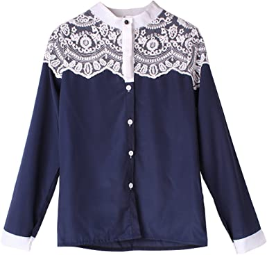 Yesurprise Mujer Blusa Punta de camiseta Punta Blusas Camisa Blusa puntas Top Camiseta marine small: Amazon.es: Ropa y accesorios