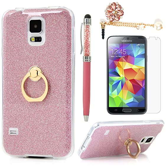best authentic c1d04 60987 Badalink Galaxy S5 Case 360 Degree Rotating Ring Holder Kickstand  Shockproof Drop Protection TPU Flexible Bumper with Detachable Shiny Shell  Slim-Fit ...