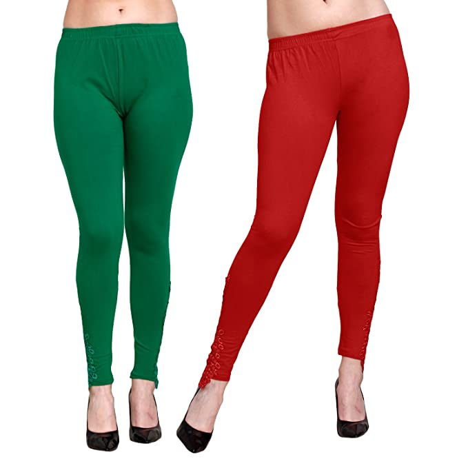21f9303cfac59 Livener Designer Peacock Patch Ankle Length Leggings for Women (Green & Red  Color - XL): Amazon.in: Clothing & Accessories