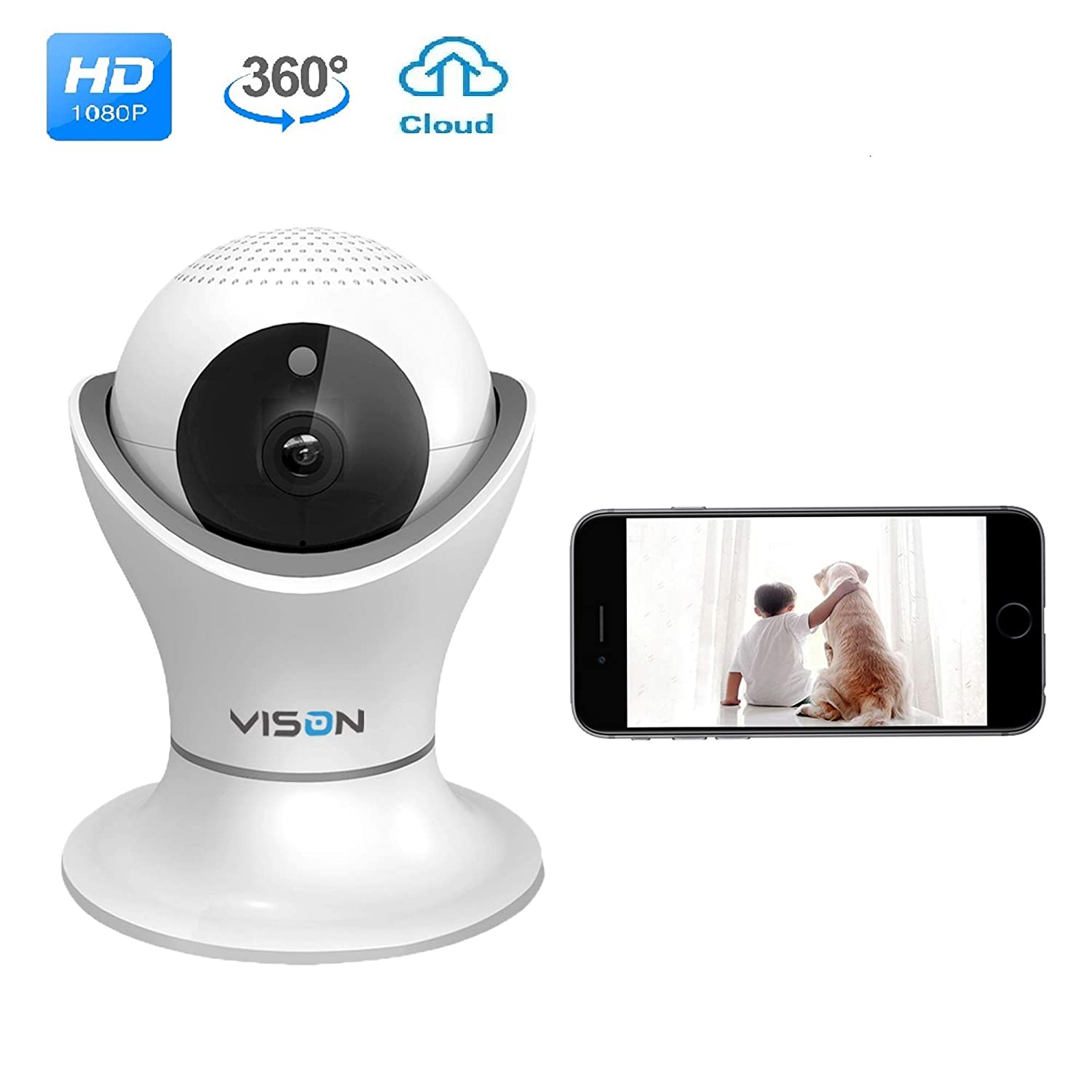 362279b8efd VINSION 1080p Wireless WiFi IP Camera with 3D Navigation Panorama