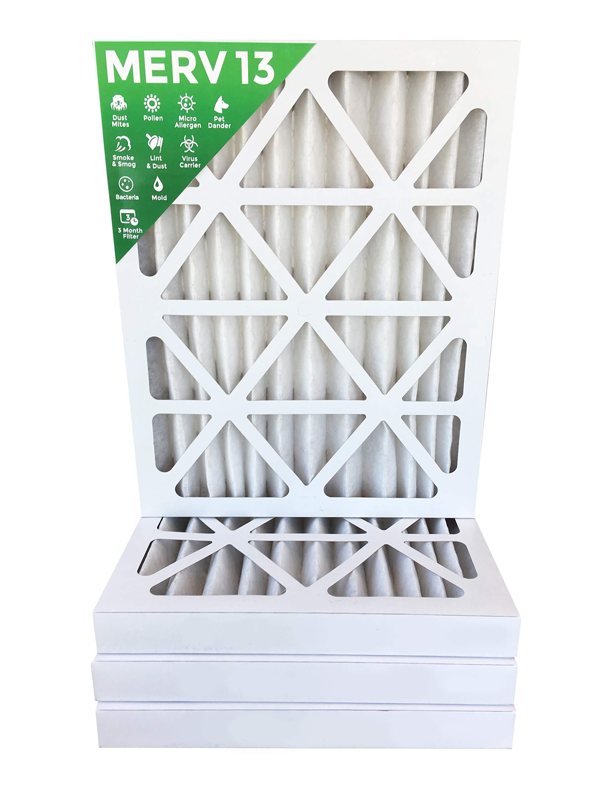 16x20x2 MERV 13 (MPR 2200) AC Furnace 2'' Inch Air Filters. Box of 4