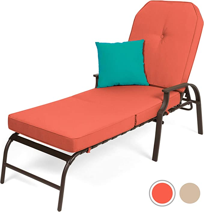 Best Choice Products Outdoor Chaise Lounge Chair W Cushion Pool Patio Furniture Rustic Red Garden Outdoor