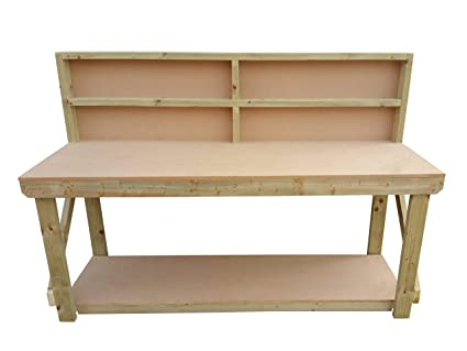 Wooden MDF Workbench With Double Shelf Made From Construction Grade Timber 4ft Work Table Handmade Strong Heavy Duty