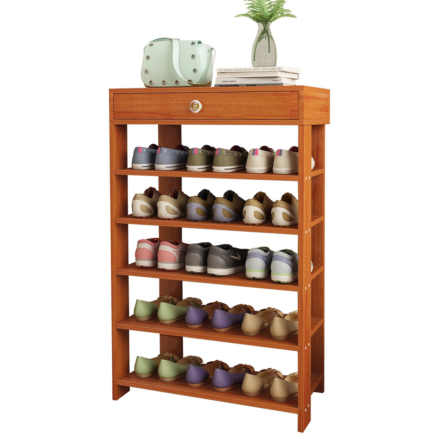Jerry & Maggie - 5 Tier Wood MDF Solid Shoe Rack 1 Large Top Draw/Shoe Storage Shelves Free Standing Flat Shoe Racks Classic Style - Multi Function Shelf Organizer - Natural Wood Tone