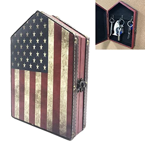 office key holder. DreamsEden Wall Mount Wooden Key Holder - American Flag Pattern Vintage Cabinet With 6 Brass Office H