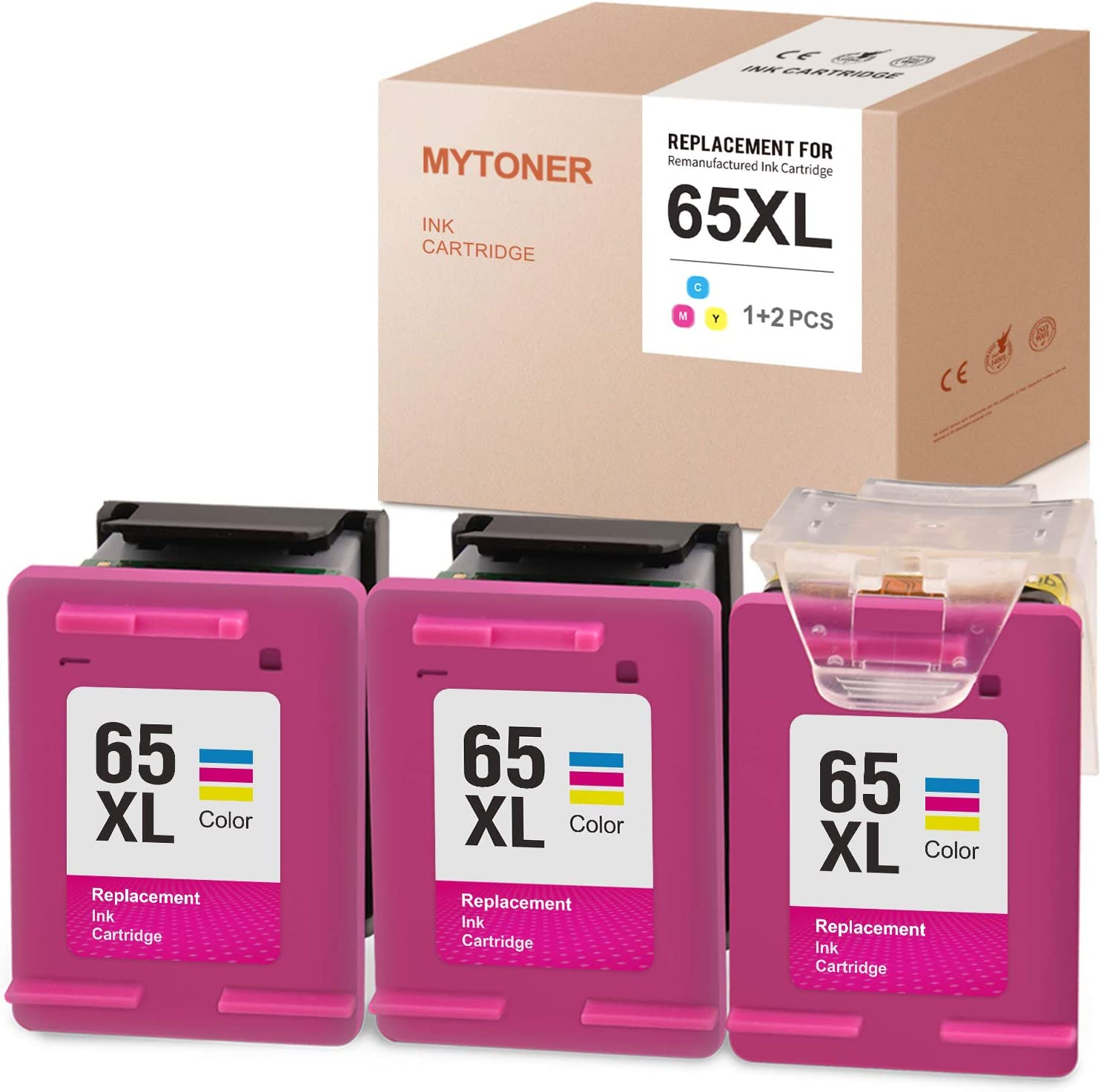 MYTONER Remanufactured Ink Cartridge Replacement for HP 65XL 65 XL N9K03AN Recharge Design for Envy 5055 5052 5010 DeskJet 3752 2662 3755 2652 2655 3758 3720 3722 2624 (Print Head+Cartridges, 3-Color)