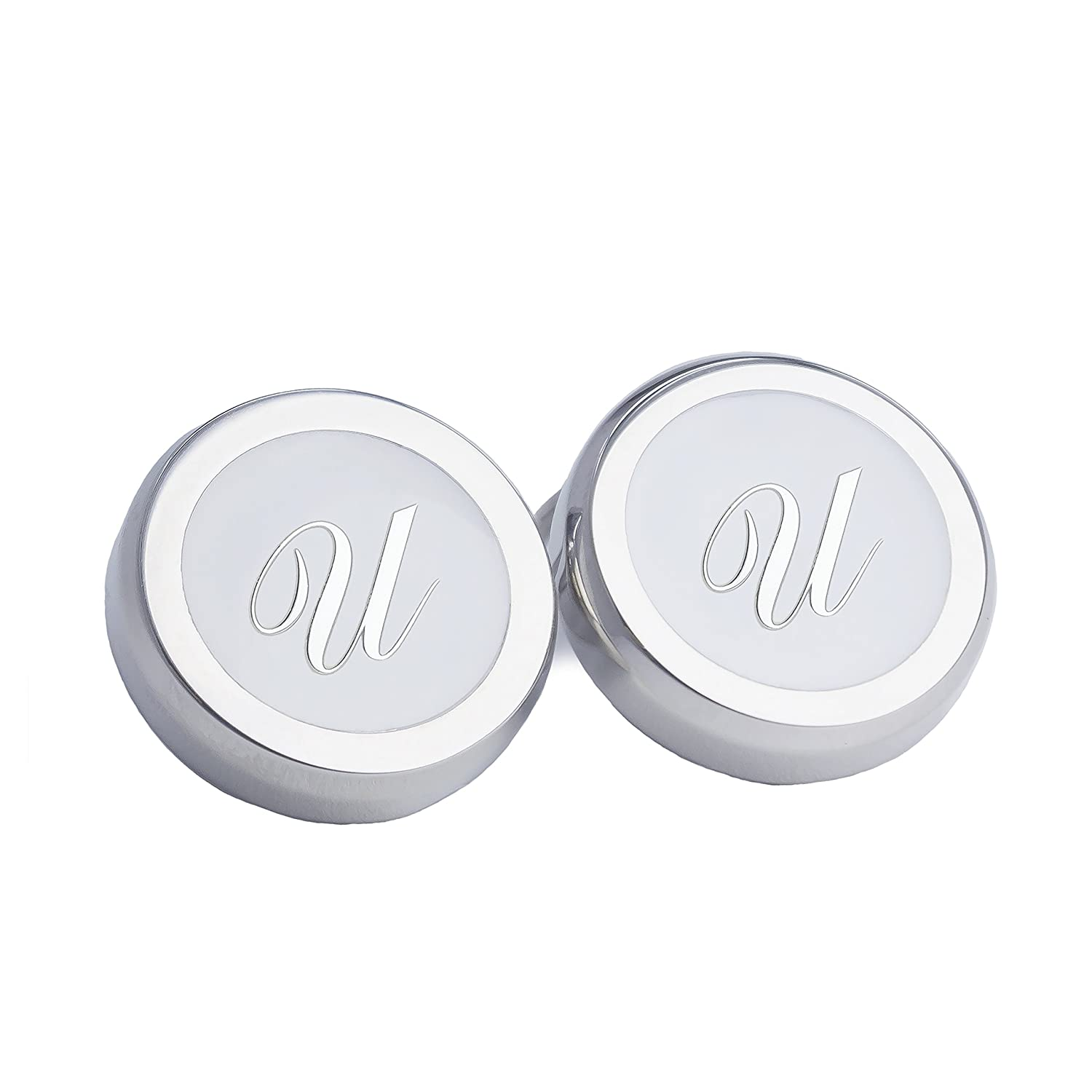 Azthom Cufflinks with LetterU White and Silver Button Covers