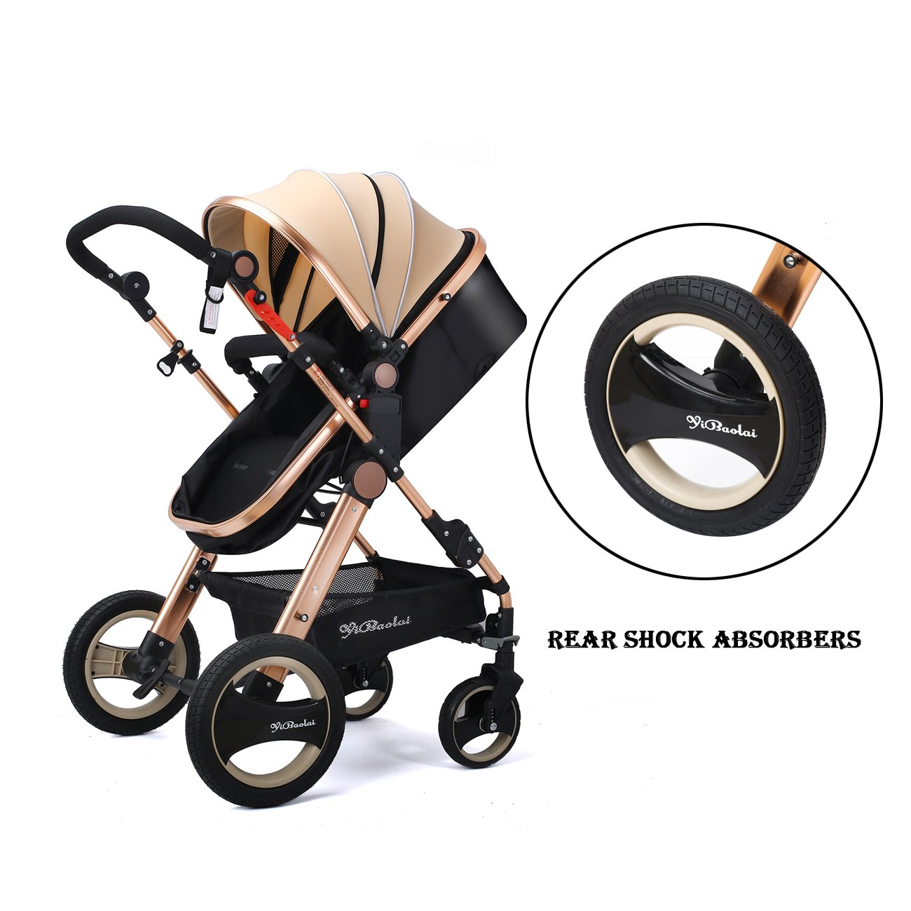 YBL Newborn Infant Baby Stroller and Toddler Folding Convertible Kids Doll Carriage Rubber Four Wheels Luxury High View Anti-Shock Pram