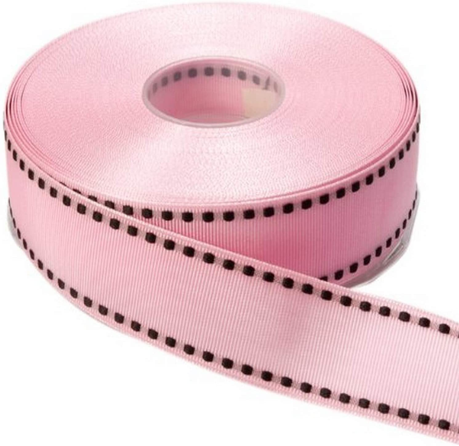 "Saddle Stitched Grosgrain Ribbon 1//2/"" Pink with Fuchsia stitching THREE yards"
