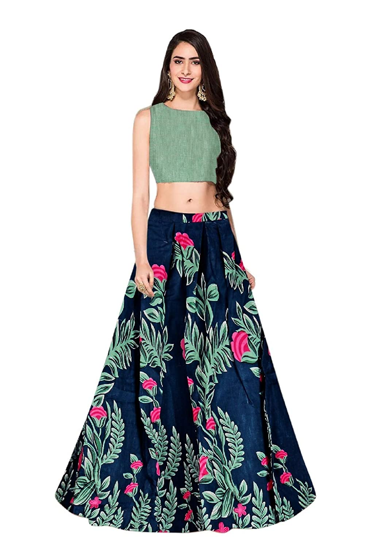 9183542eb1 BELOMODA Women's Banglori Satin Silk Printed Semi-Stitched Lehenga Choli  (Black, Free Size): Amazon.in: Clothing & Accessories