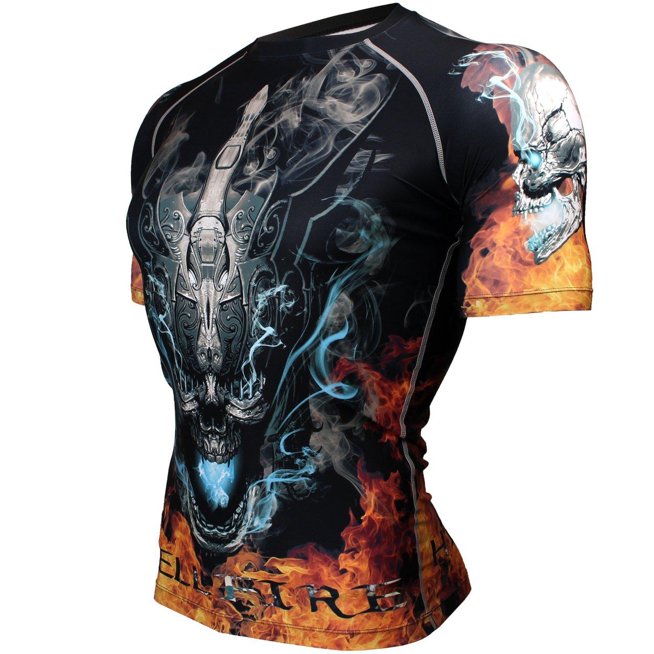 Btoperform Herren Damen MMA Running Bedruckt Kompression Yoga Shirts kurzen /Ärmeln fx-320