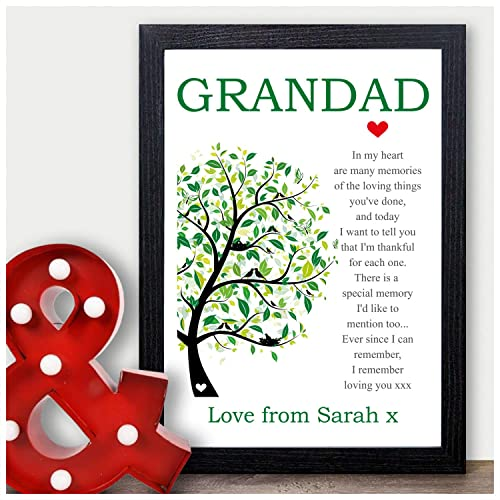 Personalised Grandad Birthday Gifts Memory Poem Print Gifts for Him Grandpa Pops Grandfather Gramps - PERSONALISED with ANY NAME and ANY RECIPIENT - Black ...