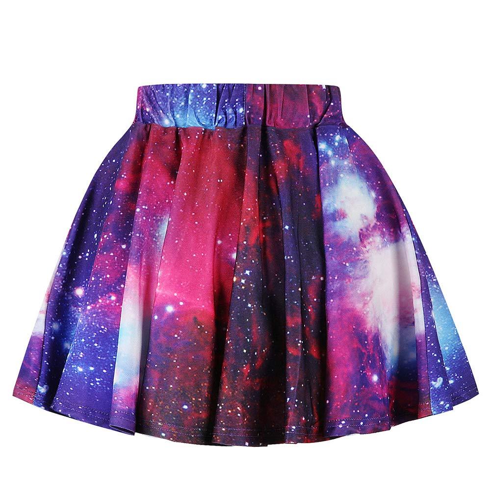 CUTEKOLVE Girl Galaxy 3D Digital Printing Half-Length Princess Skirt Elastic Waist Princess Skirt