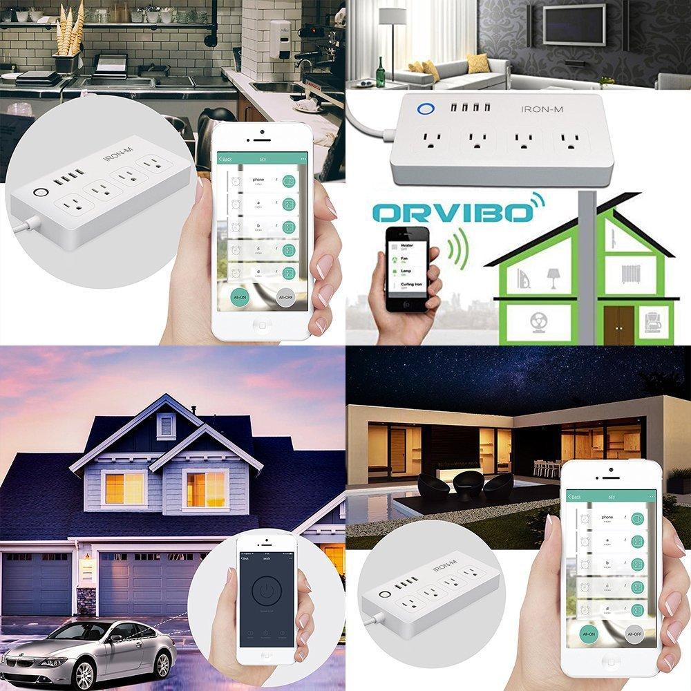 Iron-m WiFi Smart Power Strip Surge Protector, 4-Outlet 4-USB with 5-Foot Cord, Remote Control via Smart Phone, Work with Alexa and Google Home Mini by Iron-M (Image #6)