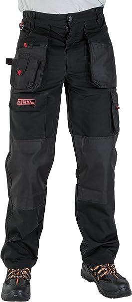 Uomini lavorano Pantaloni Cargo Nero Pro Heavy Duty più tasche W:36 L:33