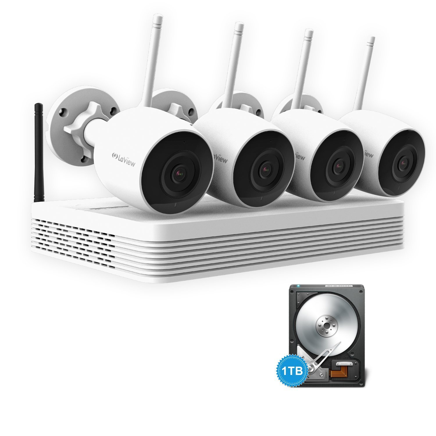 LaView 4CH Wireless Security Cameras System 1080p H.265 NVR Video Surveillance Kits 4pcs HD 1080P Indoor Outdoor WiFi Bullet Cameras, 100ft Night Vision, Remote Access, 1TB Hard Drive Pre-installed