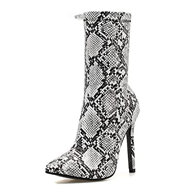 de90b3a1ac Amazon.com | Women Zipper Boots Snake Print Ankle Boots High Heels Pointed  Toe Ladies Sexy Shoes Chelsea Boots | Ankle & Bootie