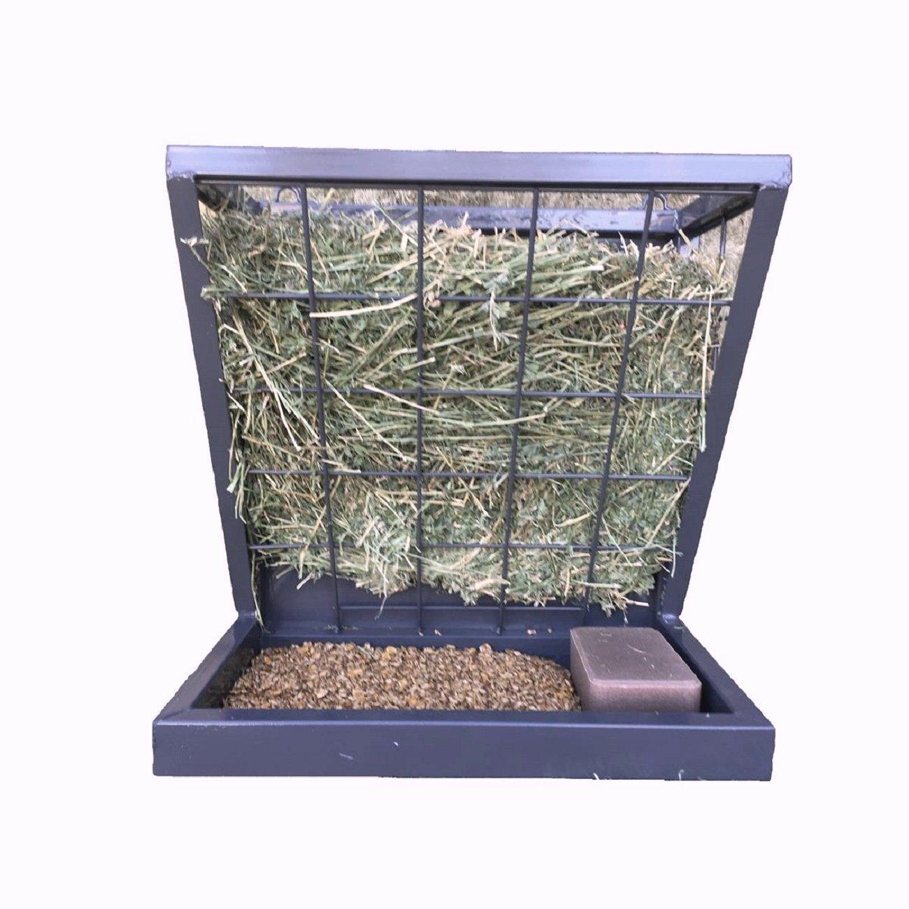 Rugged Ranch Powder Coated Steel 3-in-1 Wall Feeder - For Hay Grain or Salt - H: 12'' W: 21'' L: 21'' - Black