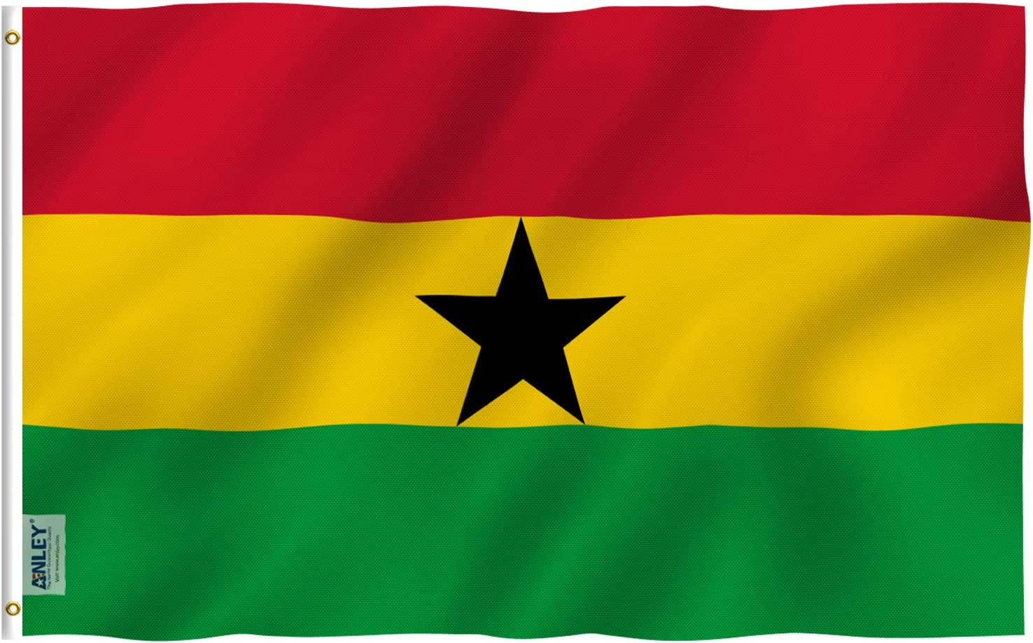 Anley Fly Breeze 3x5 Foot Ghana Flag - Vivid Color and Fade Proof - Canvas Header and Double Stitched - Ghanaian National Flags Polyester with Brass Grommets 3 X 5 Ft