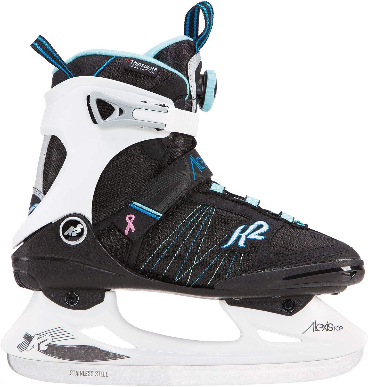 K2 Skate Alexis Ice BOA Skates, Black White Blue, Size 10