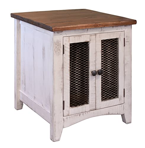 Burleson Home Furnishings Anton Quality Solid Wood Distressed White End Table with Doors – Side Table Has Storage Behind Mesh Doors and Arrives Fully Assembled