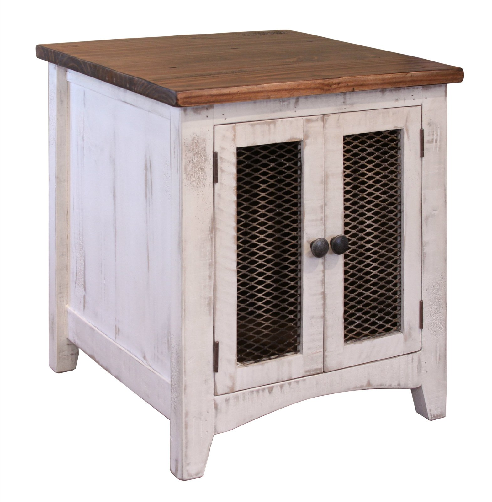 Anton Quality Solid Wood Distressed White End Table With Doors - Side Table Has Storage Behind Mesh Doors and Arrives Fully Assembled