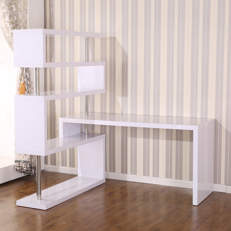 white office corner desk. Amazon.com: HomCom Foldable Rotating Corner Desk And Shelf Combo White: Home \u0026 Kitchen White Office