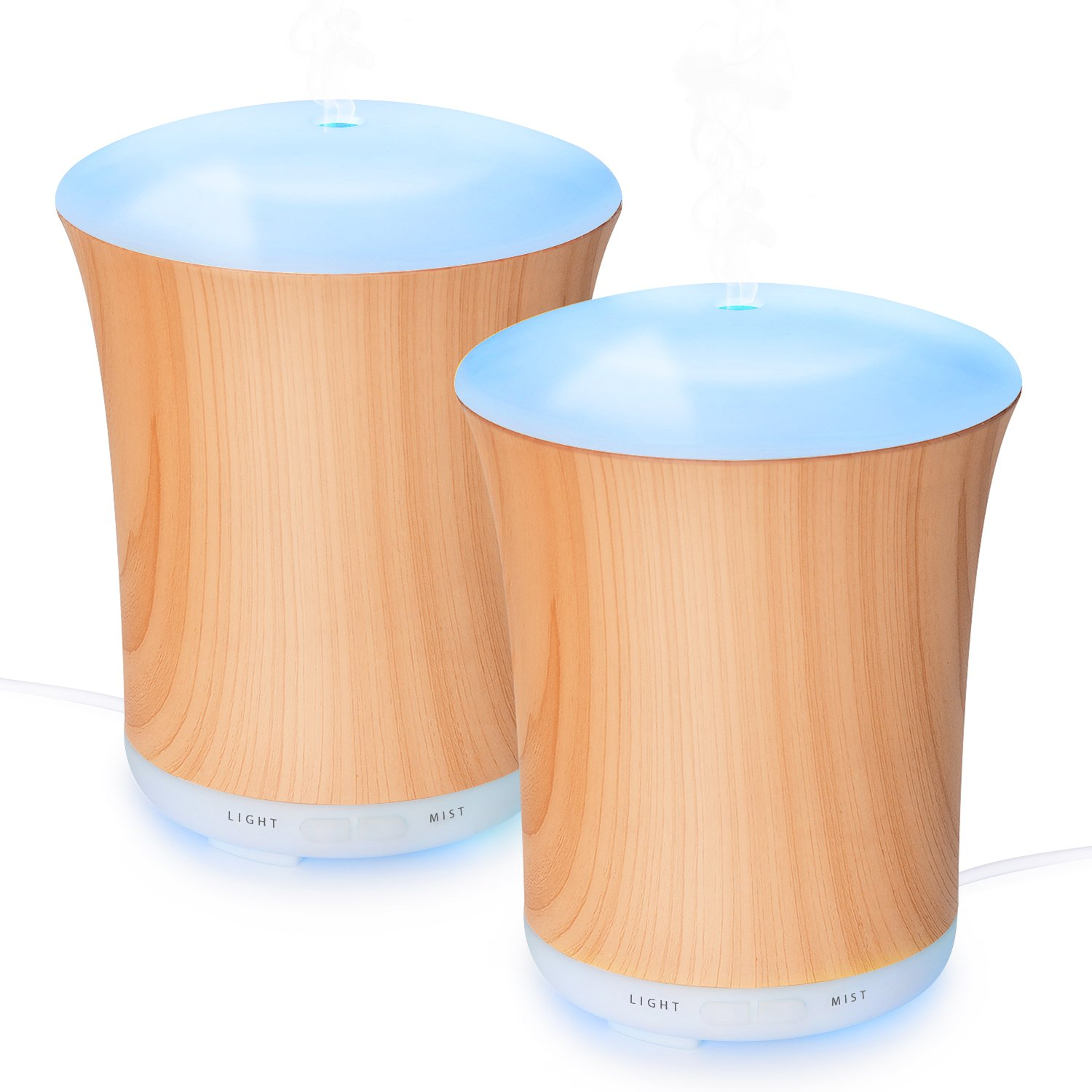 Zookki Essential Oil Diffuser, 200ml Ultrasonic Aromatherapy Diffuser Humidifier with Adjustable Mist Mode, 8 Colors LED Lights Changeable and Waterle (wood grain 2 pack) …