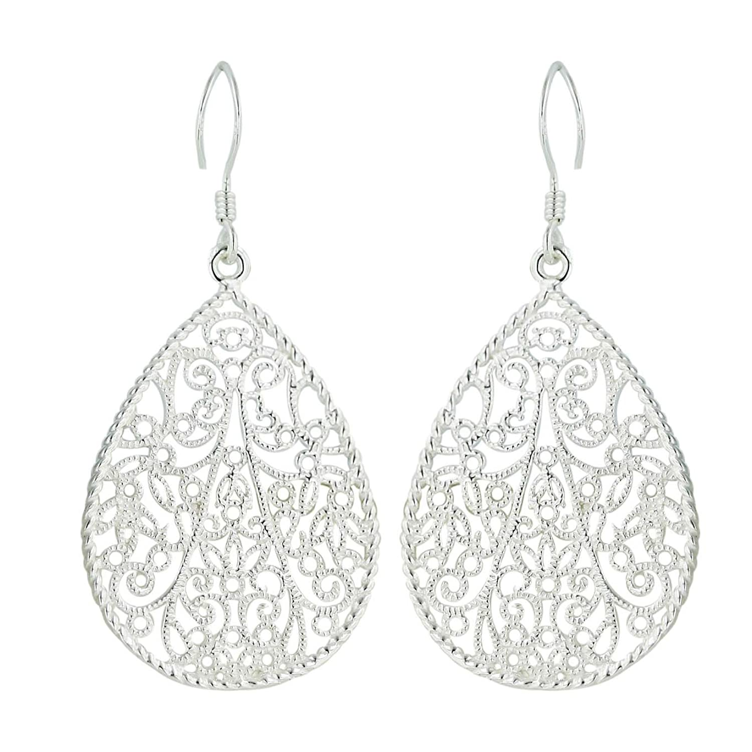 .925 Sterling Silver Oval Shaped Grainy finishing Filigree with Rope Frame Dangle Earrings Fish Hook