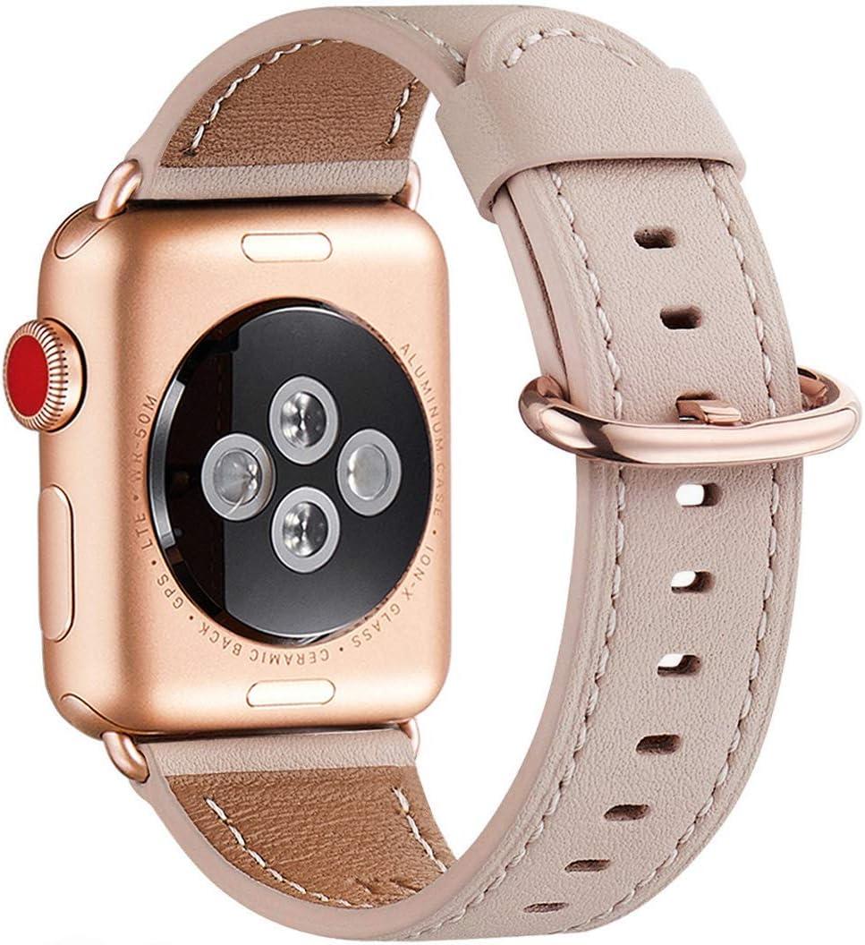 WFEAGL Correa para Correa Apple Watch 42mm 44mm 38mm 40mm, Correa de Repuesto de Cuero Multicolor para iWatch Serie 5/4/3/2/1(38mm 40mm,Rosa Claro/Oro Rosa)