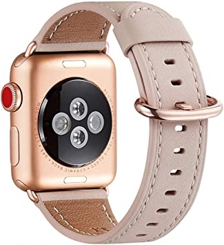 WFEAGL Correa para Correa Apple Watch 42mm 44mm 38mm 40mm, Correa de Repuesto de Cuero Multicolor para iWatch Serie 5/4/3/2/1(38mm 40mm,Rosa Claro/Oro Rosa): Amazon.es: Electrónica