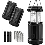 Etekcity LED Lantern Camping Magnetic Lights Dimmer Button Brightness Control with Batteries, Camping Gear for Hiking, Power Outage, Fishing, Storm (Collapsible, Upgraded CL30) (3Pack)