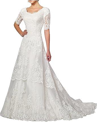 MILANO BRIDE Modest Wedding Dress For Bride White Round-Neck Sleeves ...