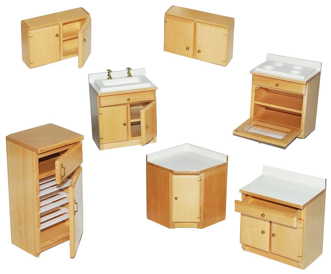 7 tlg. set: küche / küchenmöbel aus hellem natur holz   miniatur ...