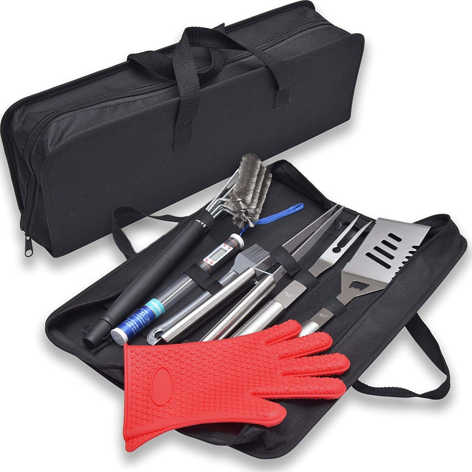 SALE! ALL-IN-ONE PROFESSIONAL PREMIUM BBQ GRILL SET. Complete BBQ grill set with Stainless Steel Spatula, Tongs, Fork, BBQ Meat Thermometer, Grill Cleaning Brush, Glove, Basting Brush,Case.