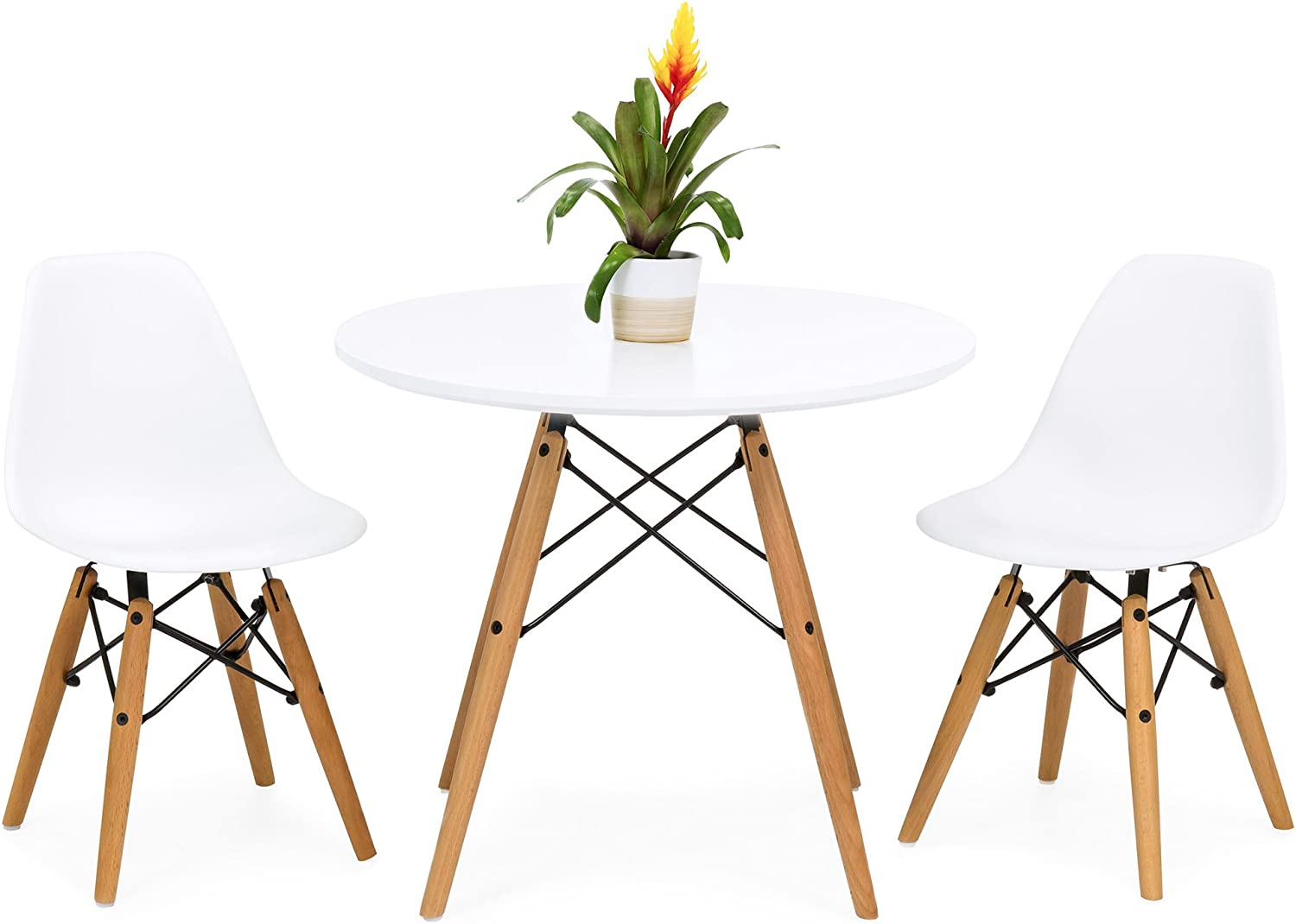 Amazon Com Best Choice Products Kids Mid Century Modern Dining Room Round Table Set W 2 Armless Chairs White Table Chair Sets