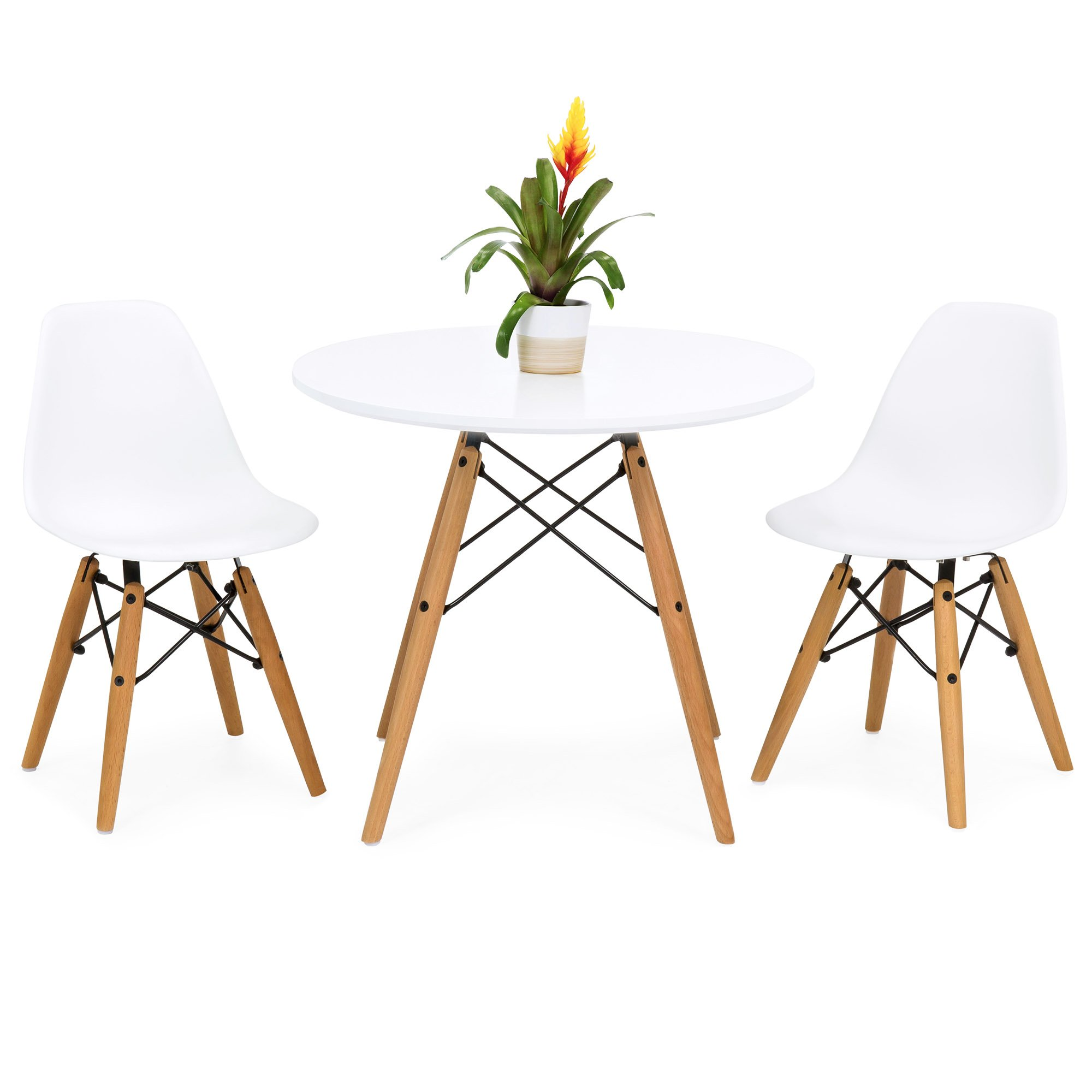 Best Choice Products Kids Mid-Century Modern Dining Room Round Table Set w/ 2 Armless Wood Leg Chairs, White by Best Choice Products